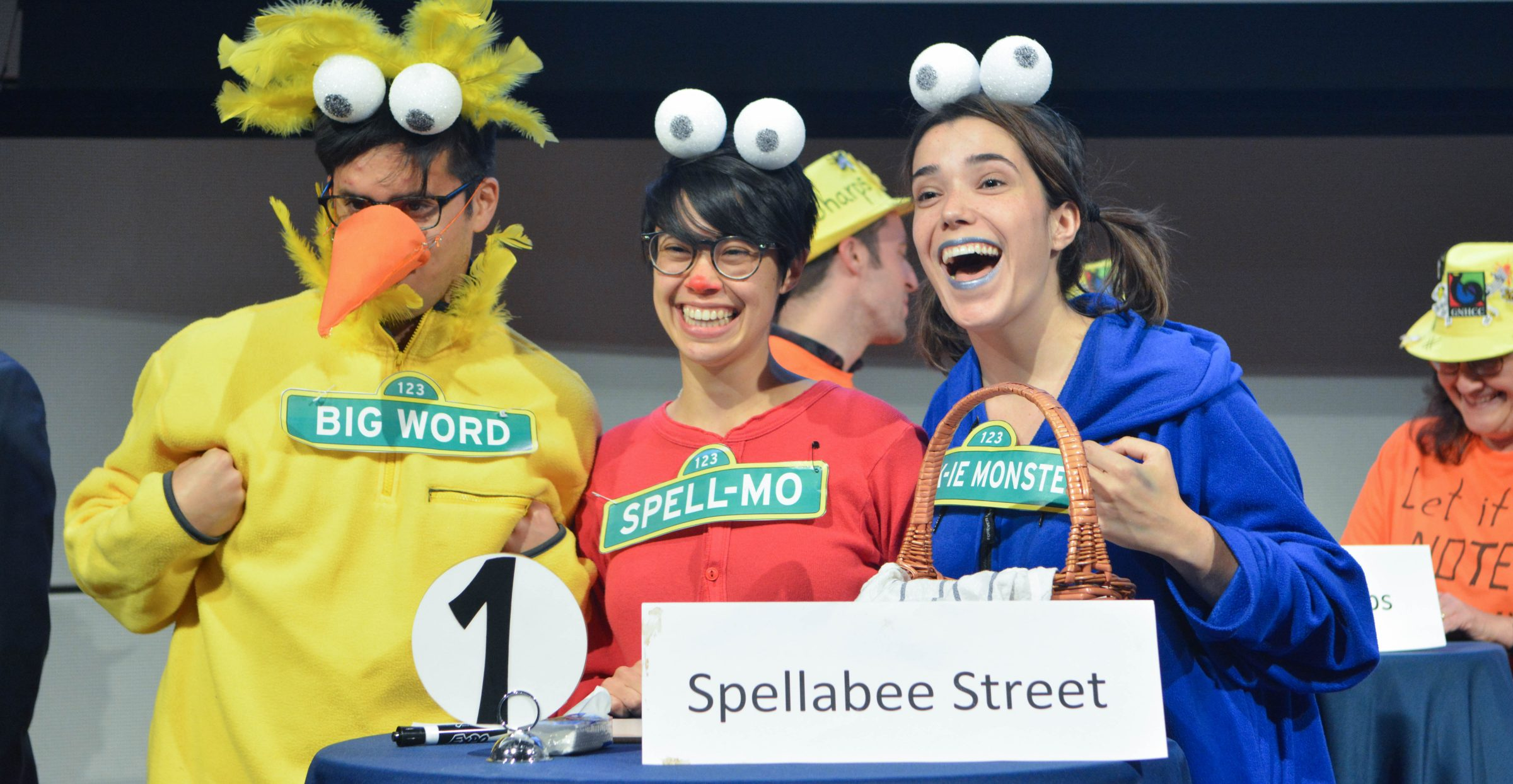 Team dressed as Sesame Street characters participate in the NHR Spelling Bee.