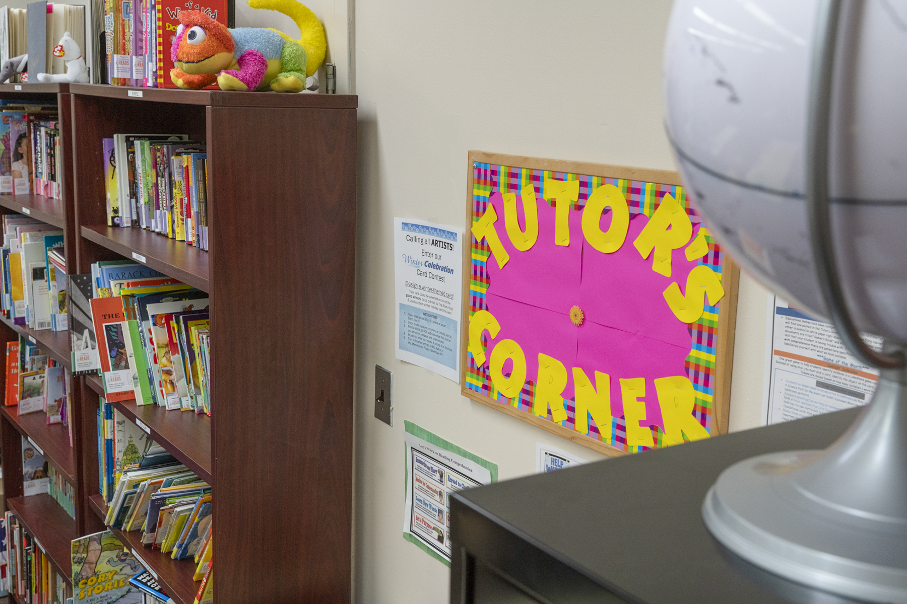 A colorful sign designates the tutor's corner at a NHR location.
