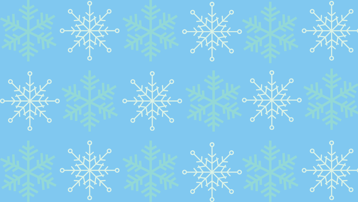 Snowflake pattern on light blue background.