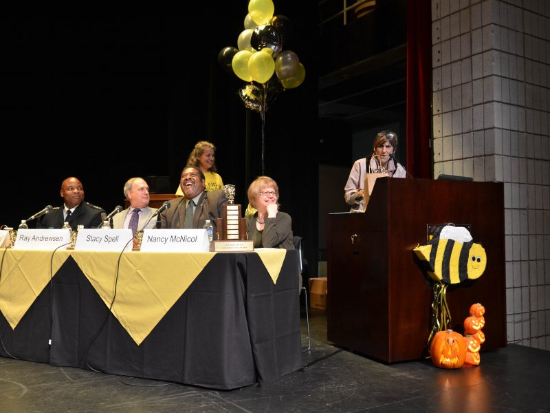Rosa DeLauro speaks at the Spelling Bee
