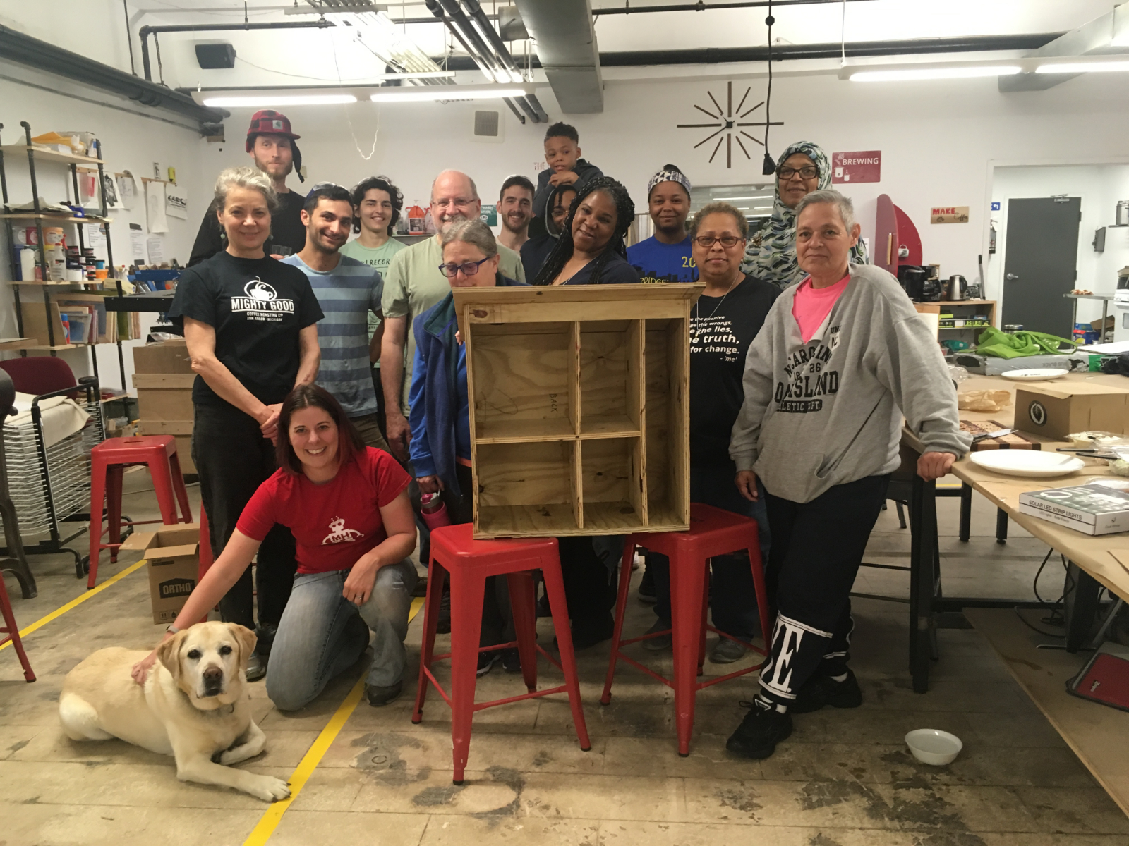 volunteers with a book box