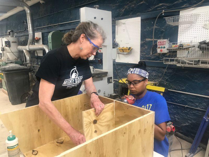 staff build a book box
