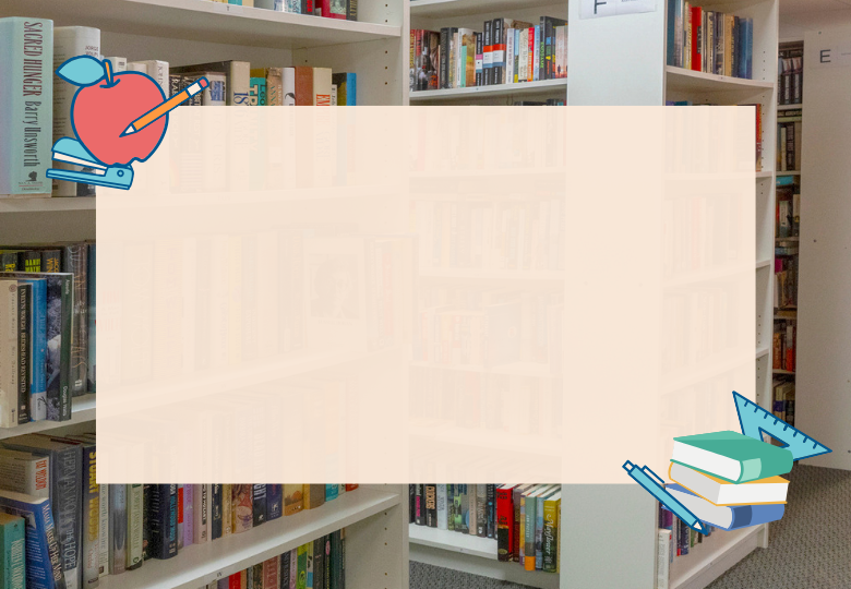 Graphic with bookcases in the background